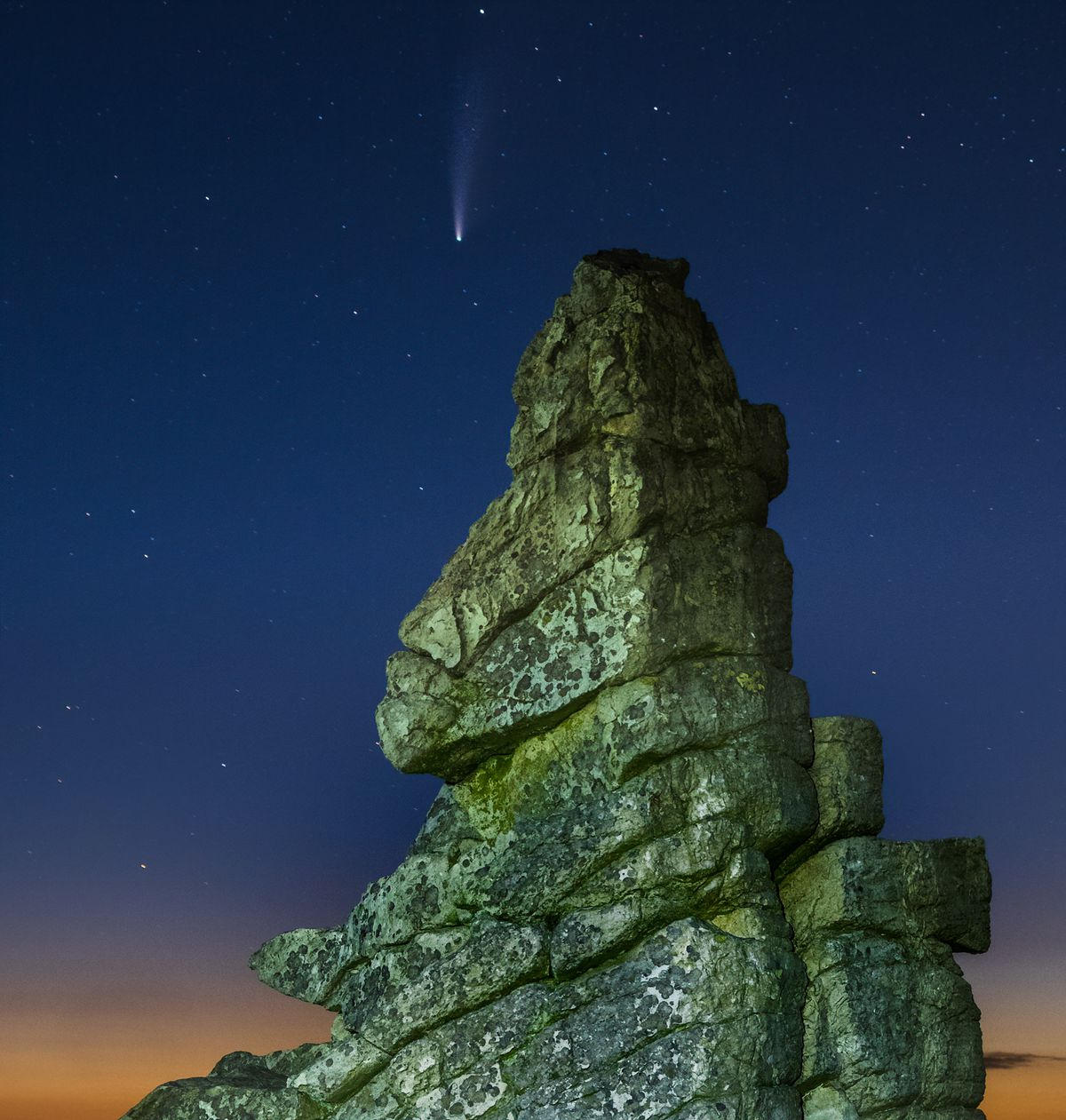 The comet Neowise over Manstone Rock at the Stiperstones. Picture: Andrew Fusek-Peters