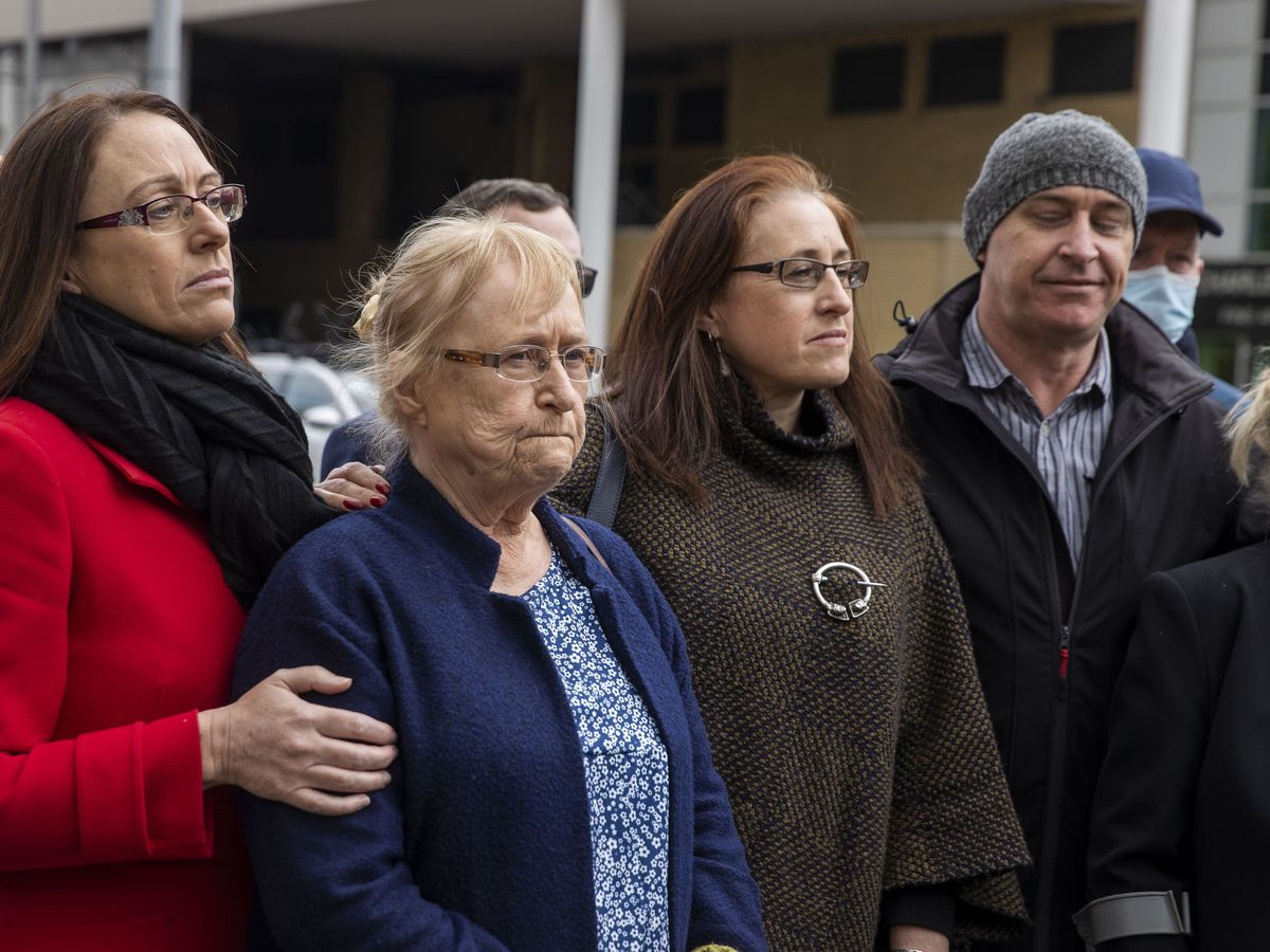 Joe McCann's family, (left to right) daughter Maura, widow Anne, daughter Aine, and son Fergal, during a press conference outside Laganside Court in Belfast