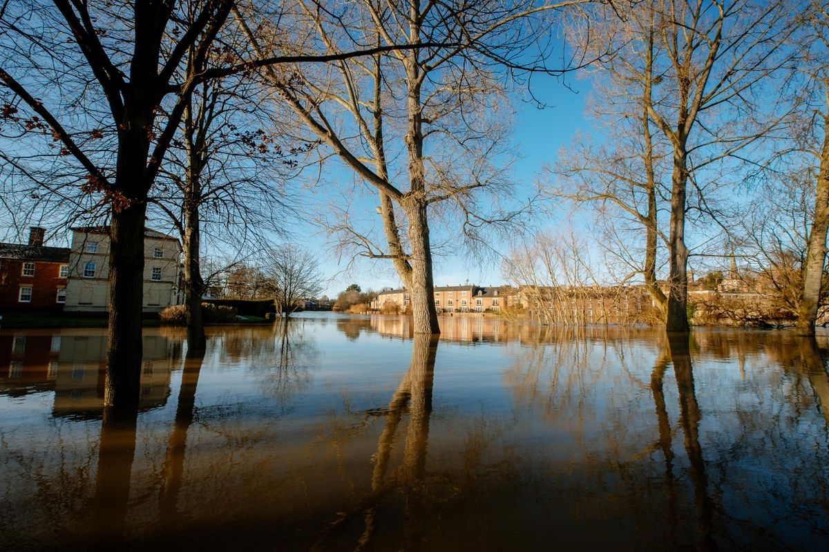 The flooding at Coleham Head on Friday