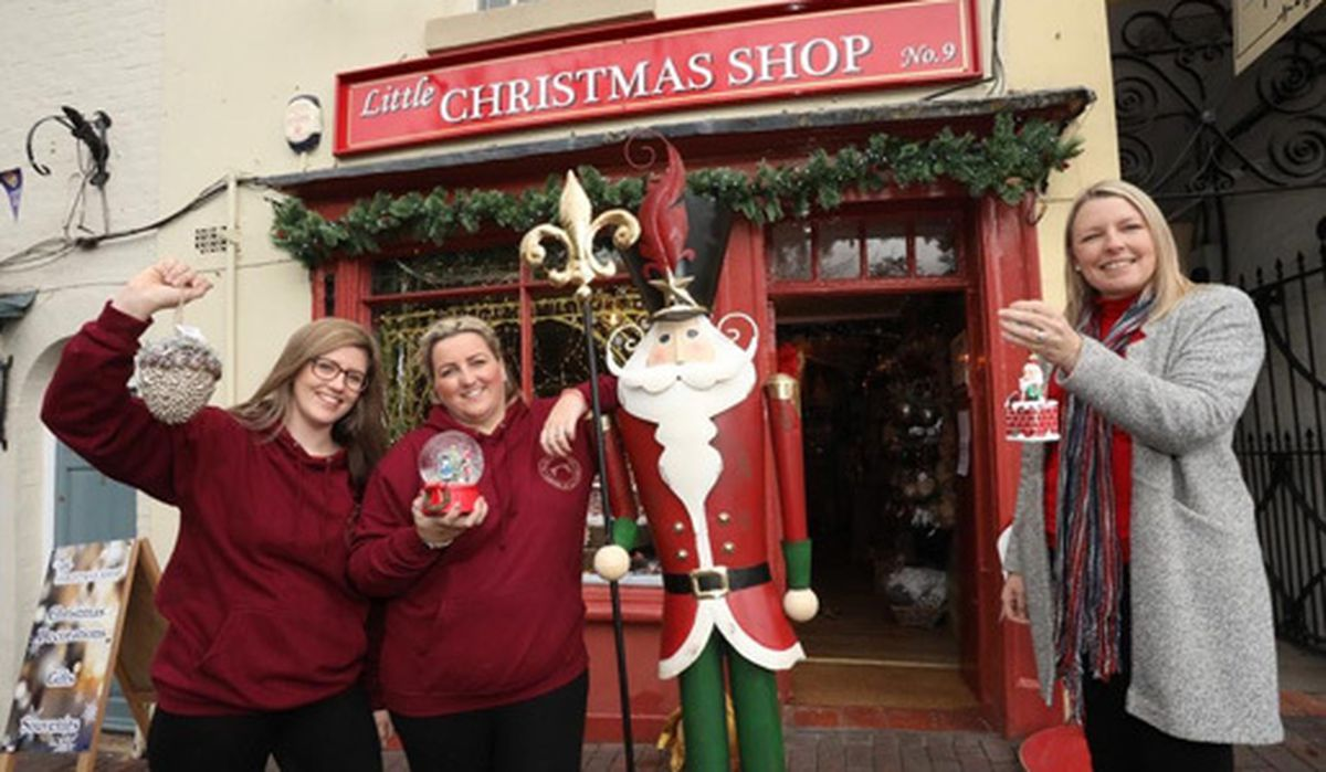 Shop owners Kimberley and Emily alongside Councillor Carolyn Healy, ward member for Ironbridge Gorge