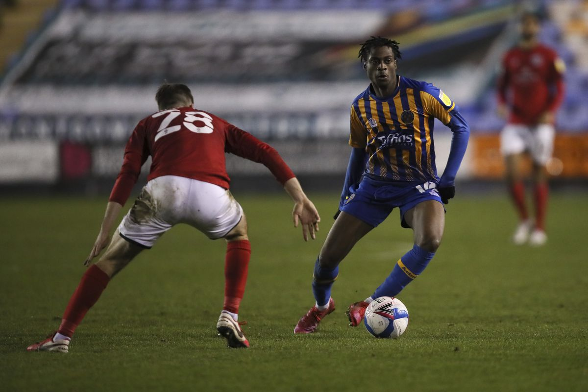 Nathanael Ogbeta has proved an excellent acquisition for Shrewsbury Town since checking in from Manchester City last month (AMA)