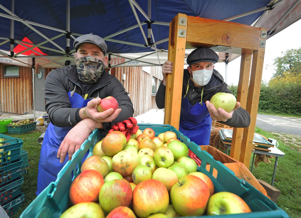 Pressing apples, cider makers (left-right) Tim Barker and Joseph Anderson, at Canal Central, Maesbury Marsh, Oswestry..