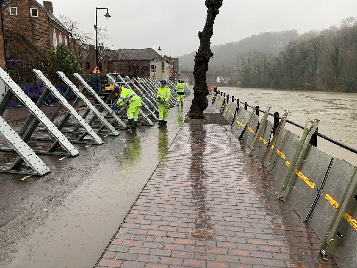 The Ironbridge flood barriers. Photo: Environment Agency.