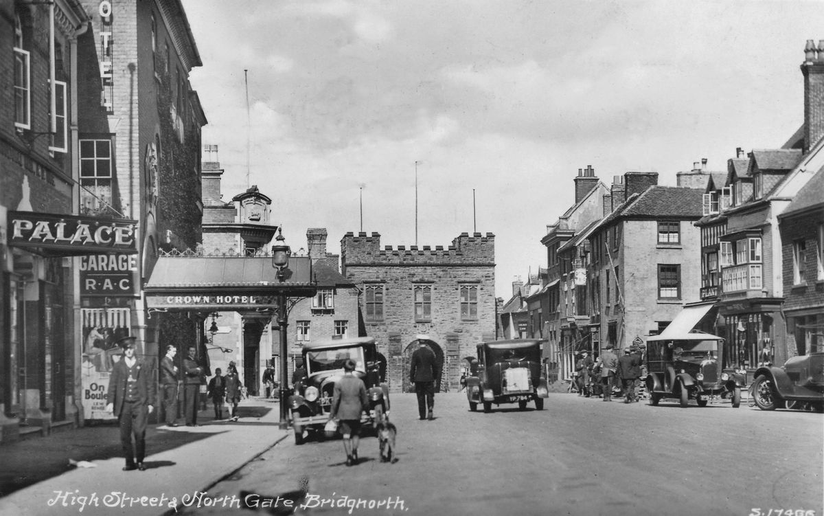 """This view of a street scene in Bridgnorth is from an old postcard just acquired by Peter Smith of Dothill, Wellington, which was posted in 1929 and shows the town's old Palace cinema on the far left. Peter tells us: """"The Palace cinema board shows that a MGM silent comedy film On Ze Boulevard starring Lew Cody and Renee Adoree was being shown, so the image can be dated to around 1927, when the film was first released."""""""
