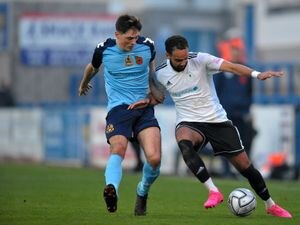 TELFORD COPYRIGHT MIKE SHERIDAN Brendon Daniels of Telford battles for the ball with Connor Woods of Southport during the Vanarama Conference North fixture between AFC Telford United and Southport FC at the New Bucks Head Stadium on Saturday, November 7, 2020...Picture credit: Mike Sheridan/Ultrapress..MS202021-041.