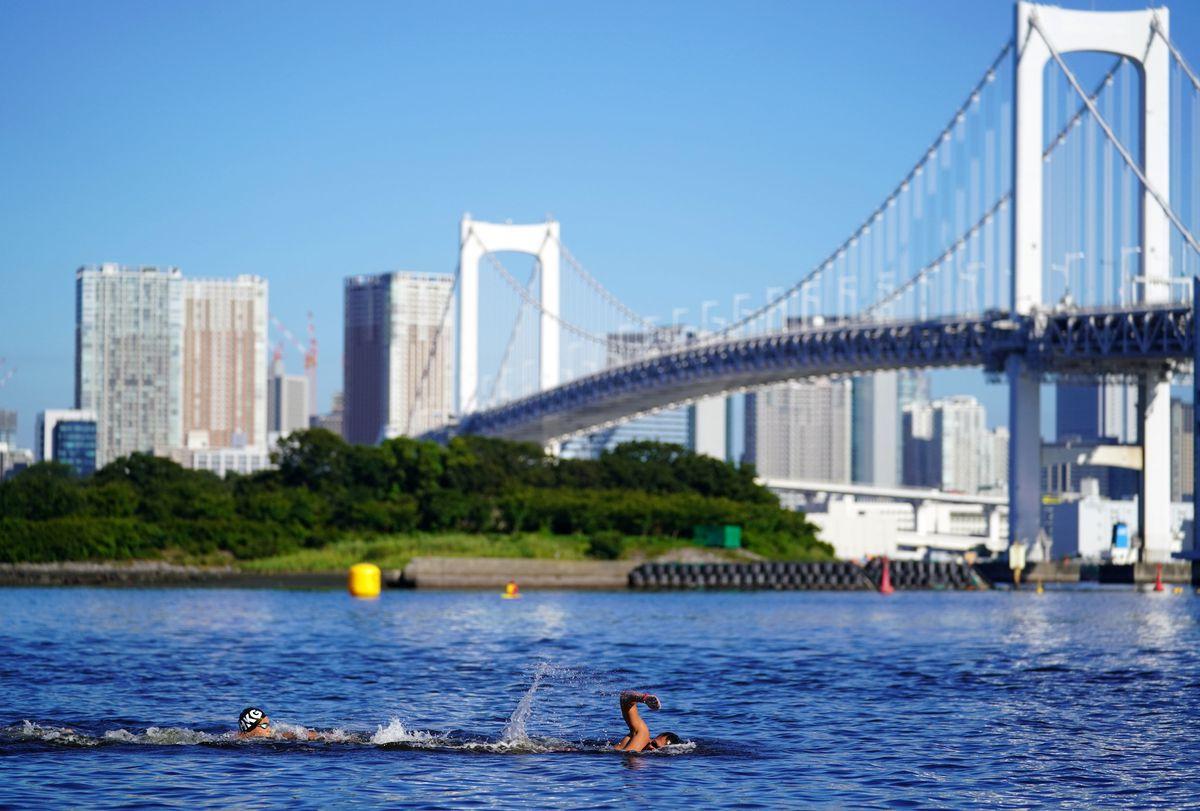 Swimmers during the Men's 10km Marathon Swimming race at Odaiba Marine Park