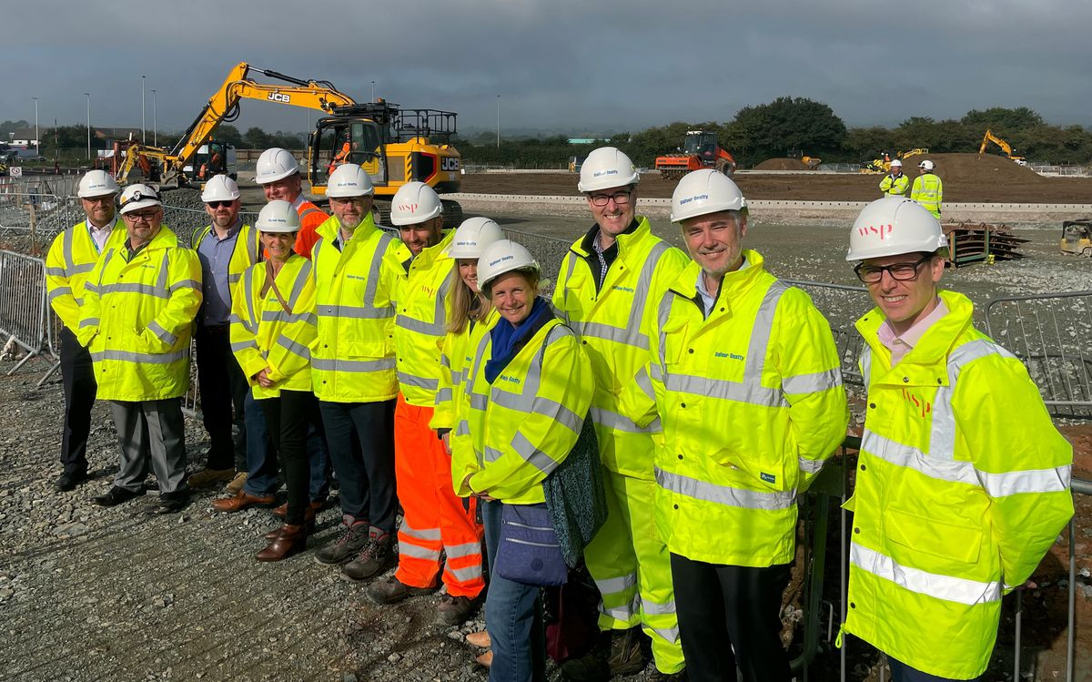 Deputy Leader Steve Charmley and Executive Director of Place Mark Barrow, along with other senior officers from Shropshire Council and Balfour Beatty at Mile End
