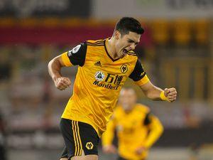 Raul Jimenez of Wolverhampton Wanderers celebrates after scoring a goal to make it 1-0. (AMA)