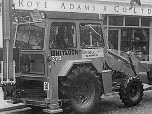 Alf Ingram arriving at Roye Adams & Co with the firm's brand new Whitlock 370 digger in June 1972.