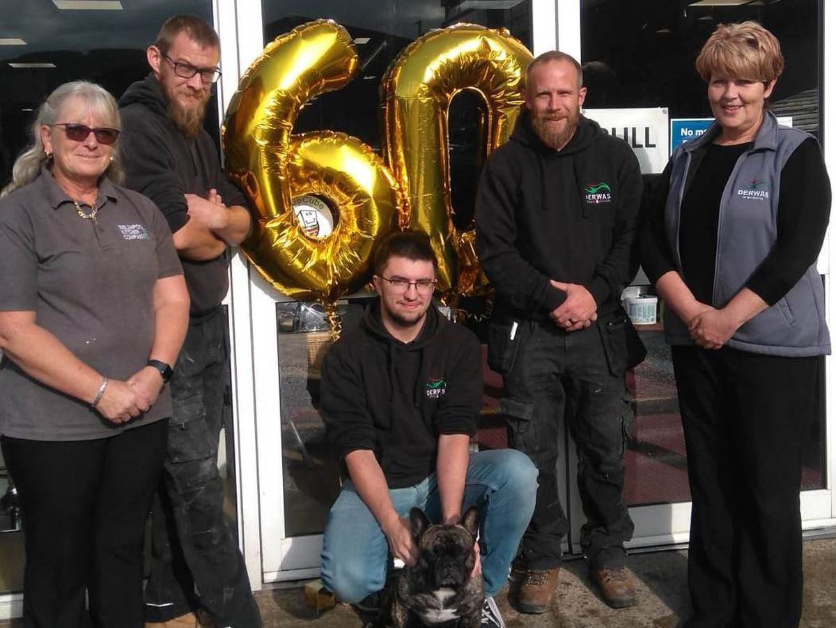 The Derwas team outside its headquarters in Welshpool