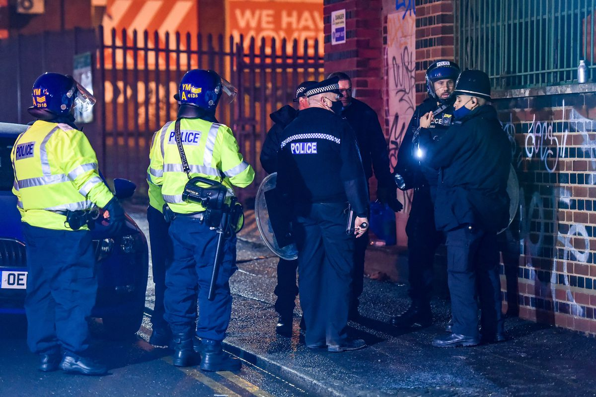 Police at a warehouse where an illegal rave took place in Digbeth, Birmingham. Photo: SnapperSK