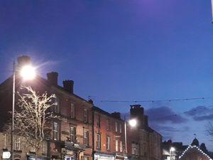 Street lights In Llanidloes at dusk