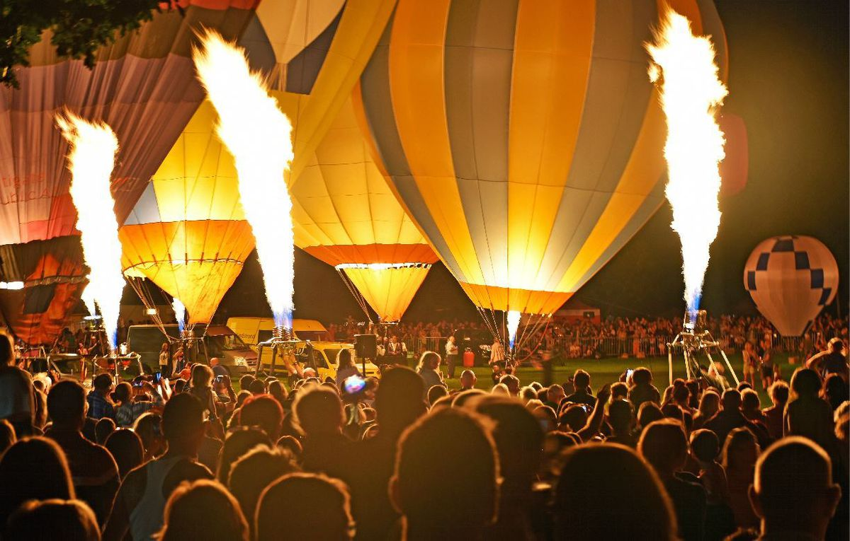 The night glow lights up Oswestry Balloon carnival. Photo: Graham Mitchell.