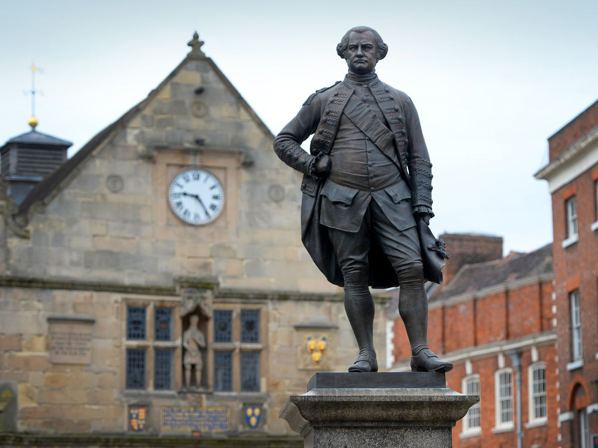 The Robert Clive statue in the Square in Shrewsbury