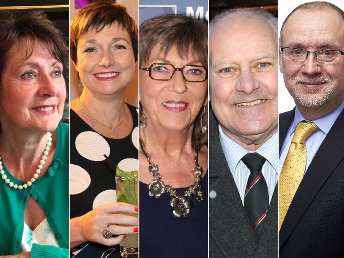 From left; Lorraine Campbell MBE,  Rachel Clacher CBE, Valerie Collard BEM, John Minor BEM and Alan Yates OBE
