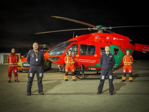 Some of the crew with the air ambulance