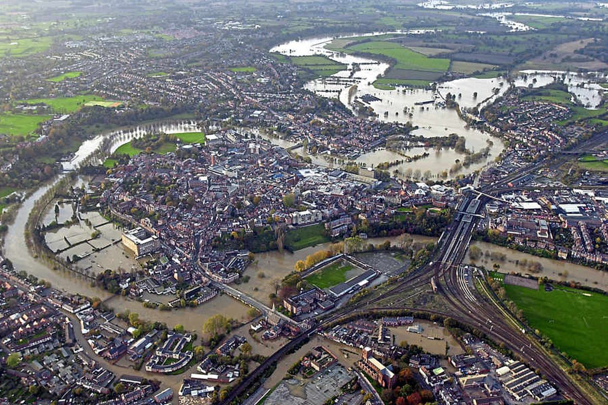Water, water, everywhere in Shrewsbury as the loop of the River Severn rose and burst its banks