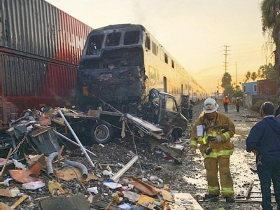 Commuter train hits motor home in fiery collision near Los Angeles