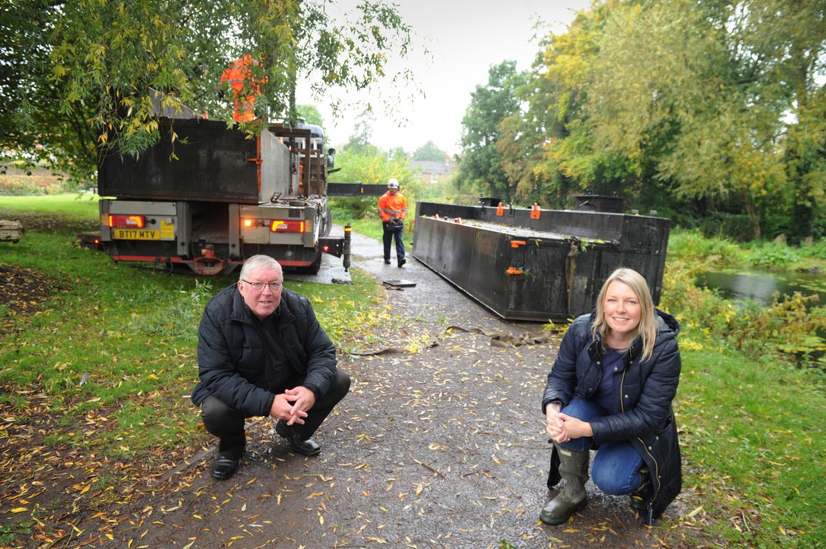 Mayor of Newport, Councillor Peter Scott, and Councillor Carolyn Healy, off Water Lane, Newport, where the work is being done