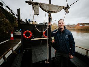Aboard Shrewsbury's popular pirate ship – which is being pensioned off – is Dilwyn Jones, from the Sabrina Boat Company
