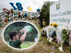 Tributes left to Dylan Price, inset, at Bishops Castle & Onny Valley Rugby Club