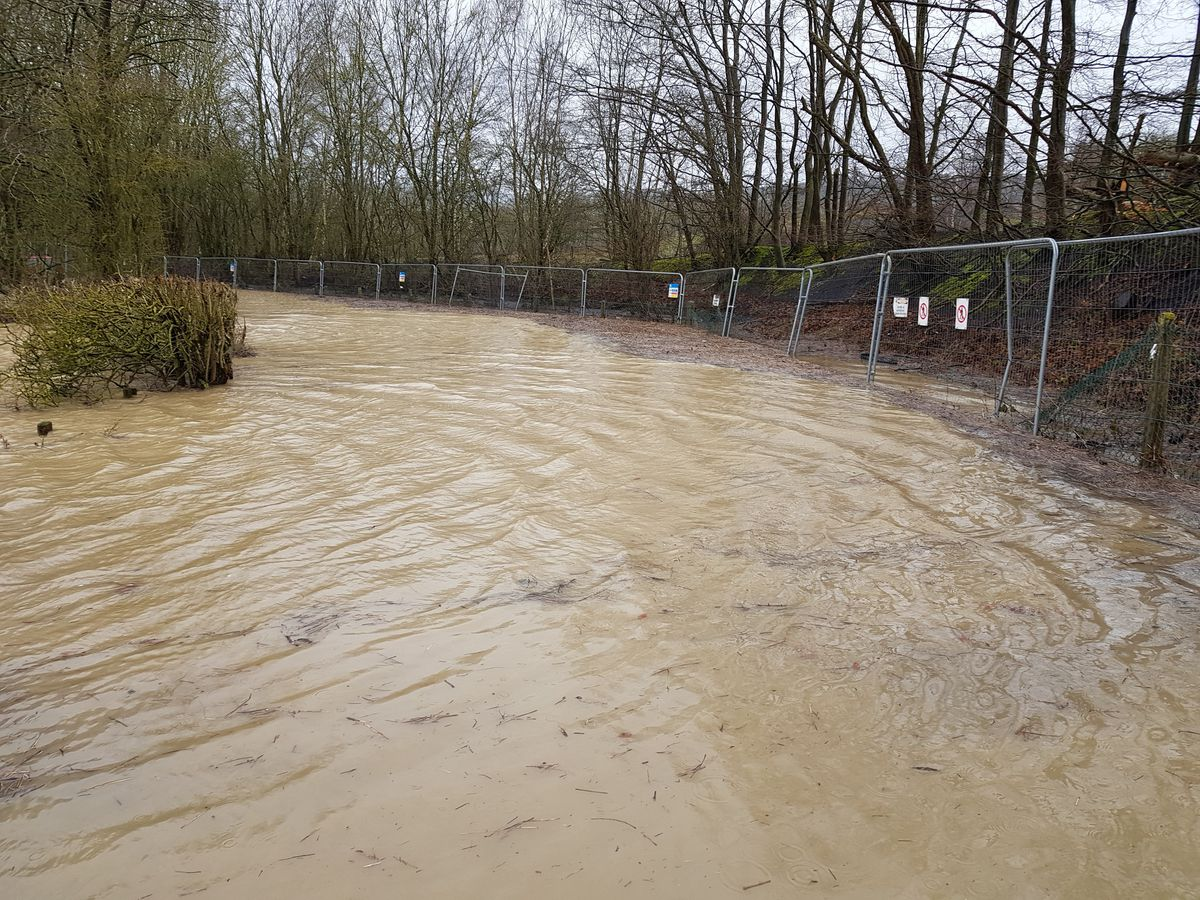 Flooding at the former Ironbridge Power Station site. Pic: Joan and Ron Williams