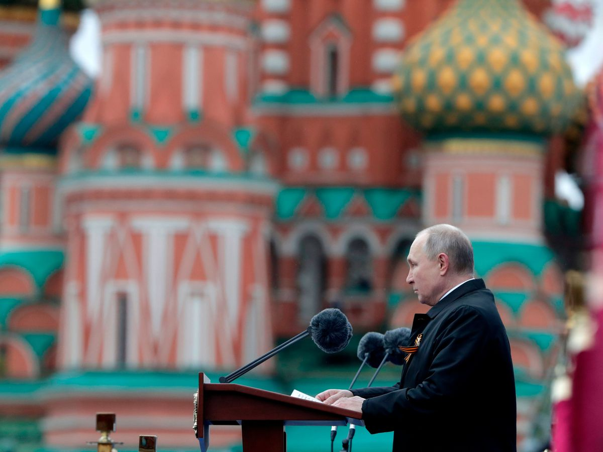 Vladimir Putin delivering his speech during the Victory Day military parade in Moscow
