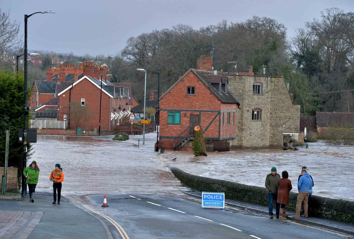 Flooding around Ludford Bridge in Ludlow after Storm Dennis