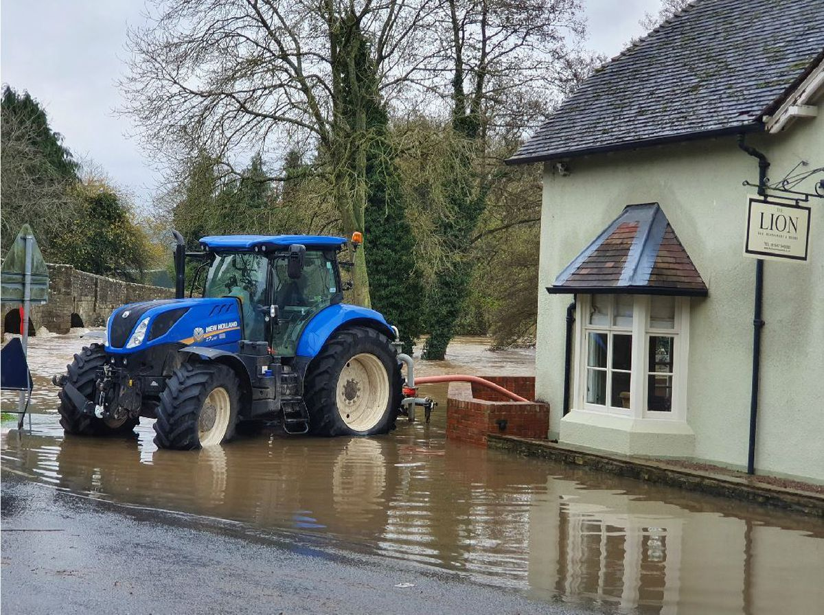 Flooding in Leintwardine on the Shropshire border. Picture by StormChaseUK