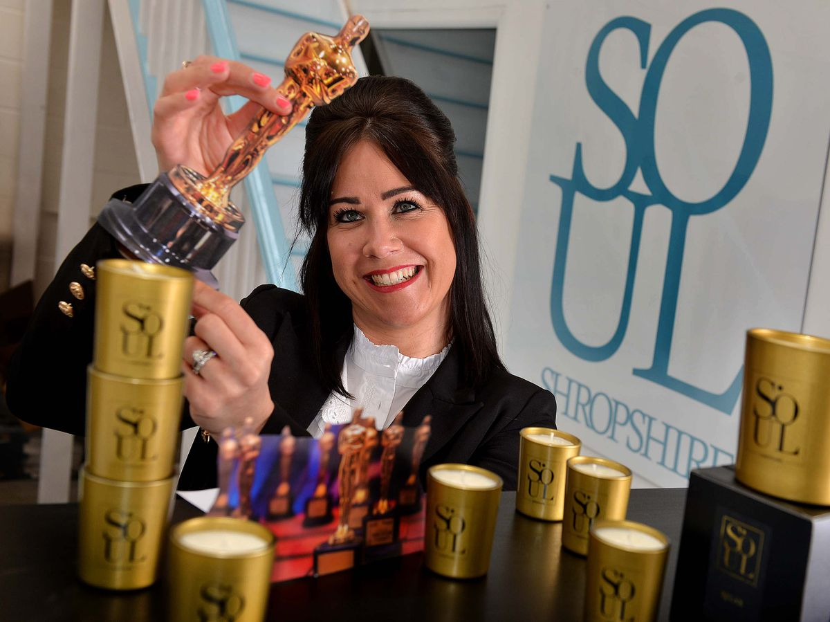 Gemma Vujnovic, owner of Soul Shropshire, with her Oscar worthy candles