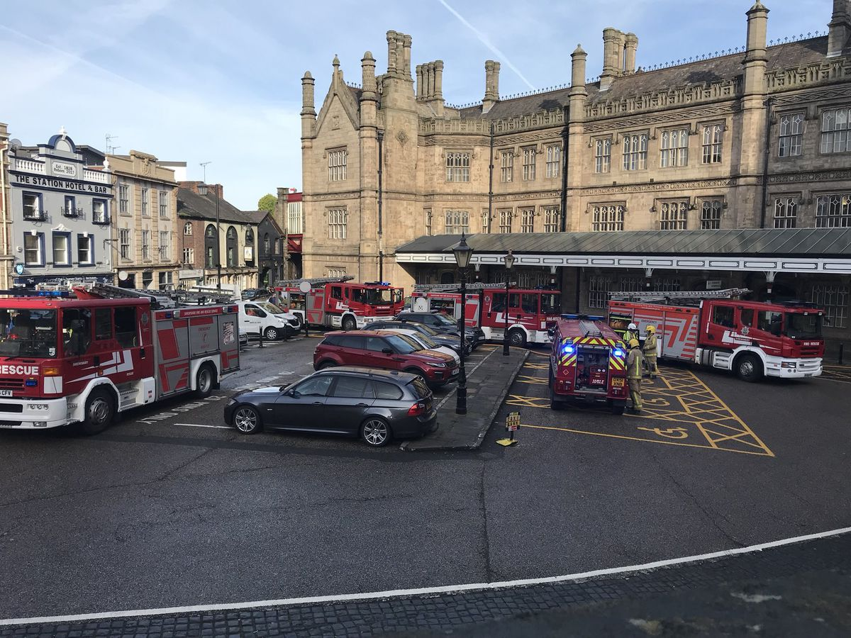 Fire crews outside the station