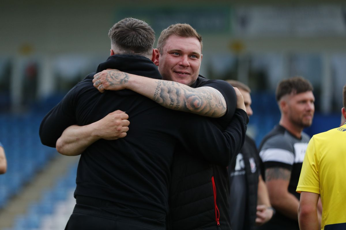Shifnal Town joint managers Danny Carter and Andrew Carrier celebrate at full time
