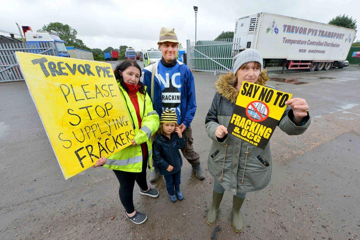 Anti-fracking protesters gather outside Trevor Pye Transport on Wem Industrial Estate