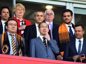Jeff Shi of Fosun International Limited and Wolverhampton Wanderers, Guo Guangchang the chairman of Fosun International Limited owner of Wolverhampton Wanderers and Jorge Mendes Sports Agent.