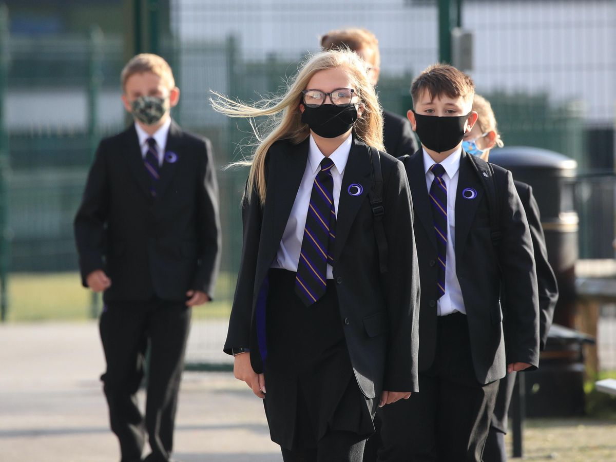 Pupils wear masks as they return to classes at Outwood Academy Adwick in Doncaster