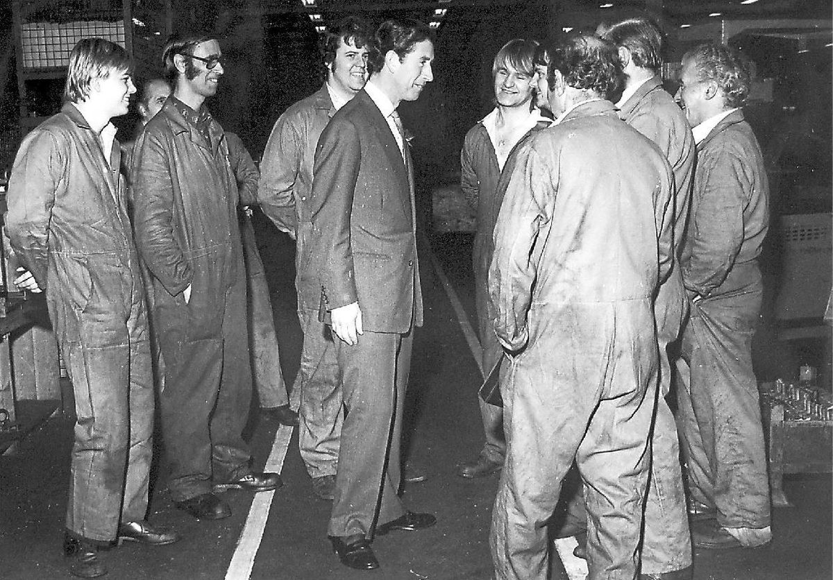 Talking to workers at the Sentinel Works in Shrewsbury 1982