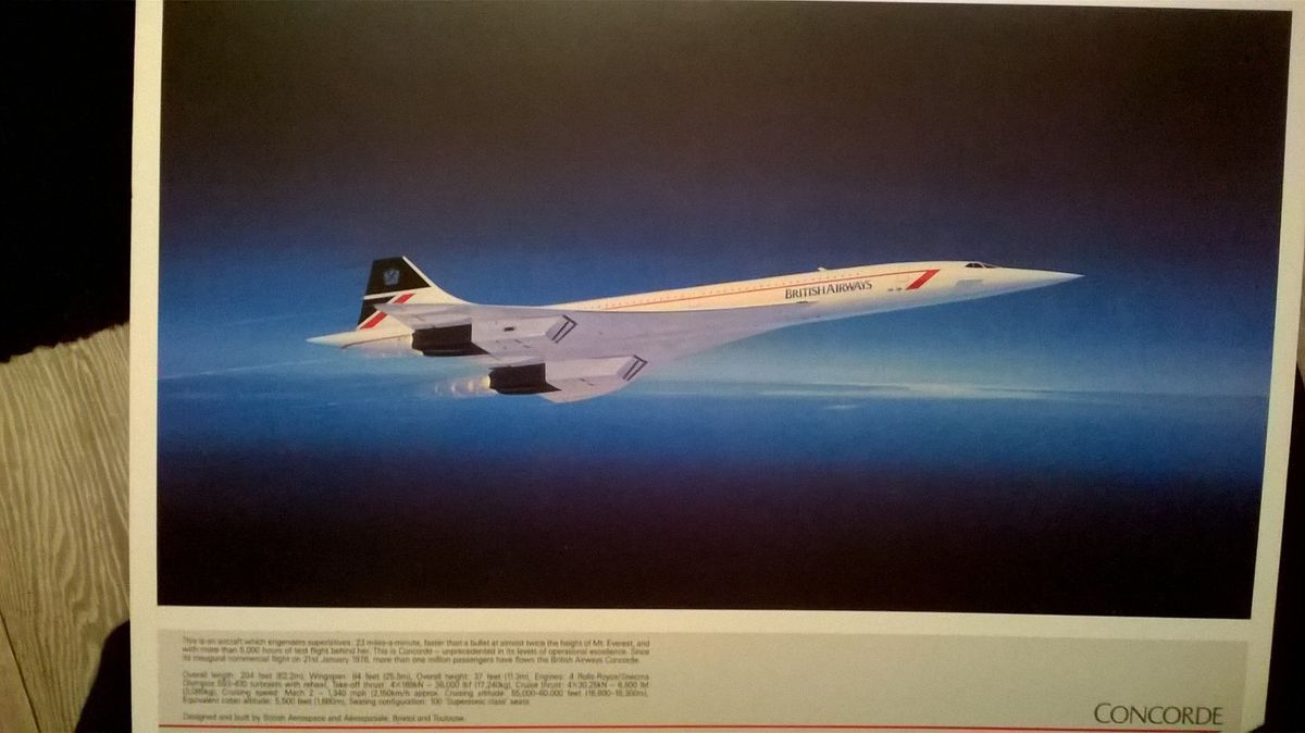 A postcard picture of Concorde that Rose North was given for the flight