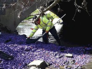 The bottles are cleaned up from the brook