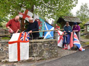 Paul Sweetland, Terry Bateman, Andy Marsden, Satu Bateman and Rose Sweetman on Arbor Day in Aston on Clun. Picture: David Bagnall