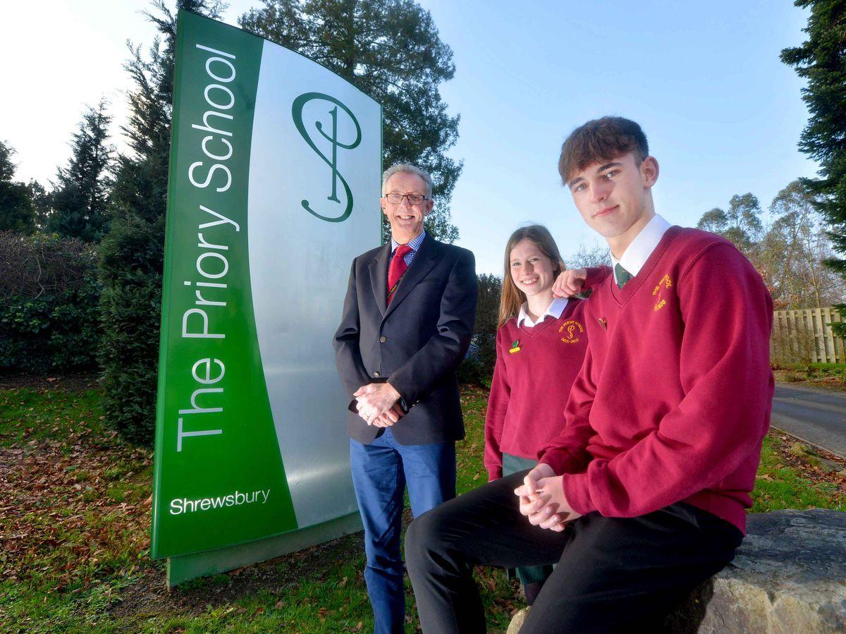 Principal Michael Barratt with head girl Lottie Etterley and head boy Max Rutter at the Priory School in Shrewsbury