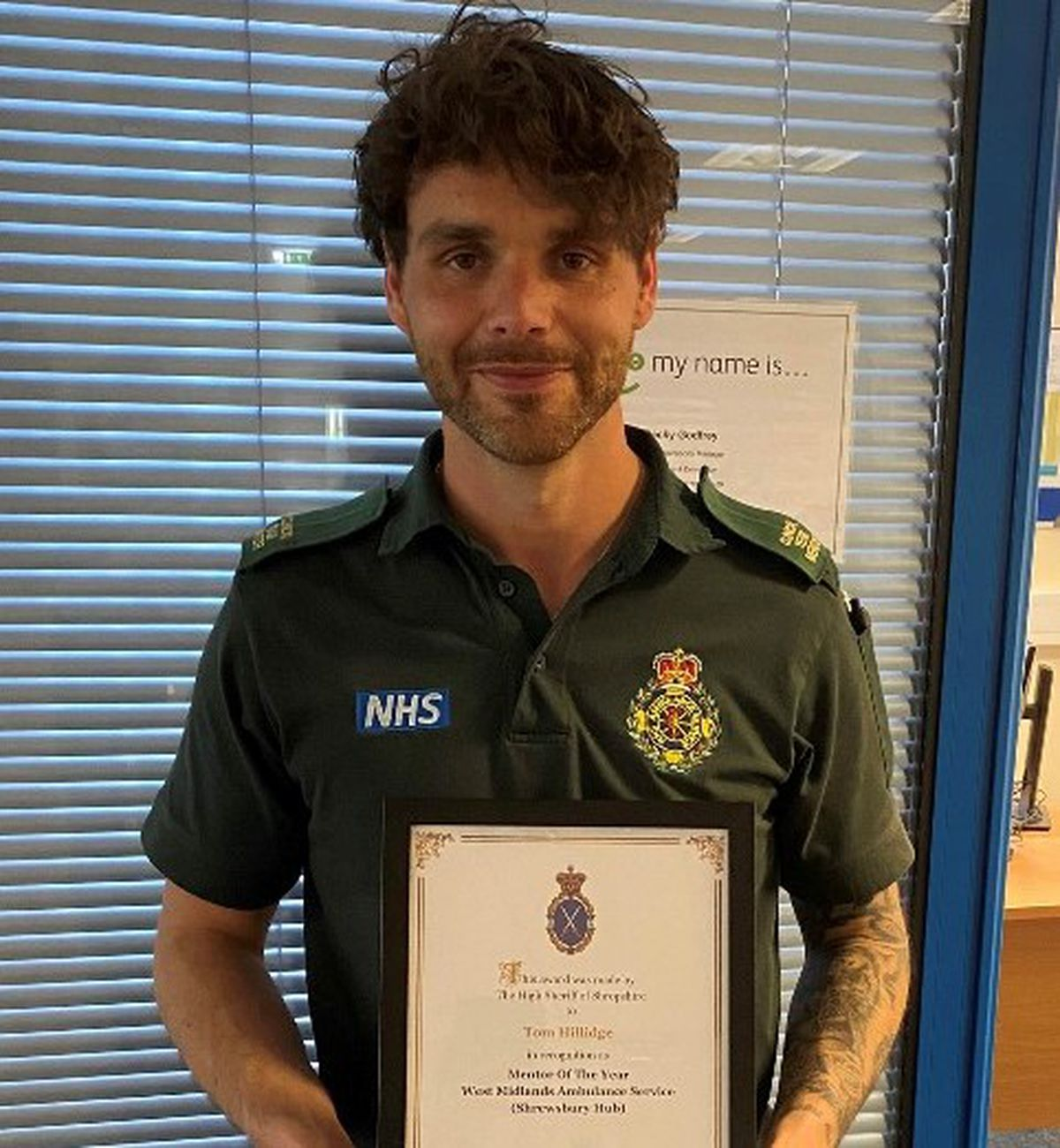The mentor of the year award went to Tom Hillidge at Shrewsbury ambulance hub