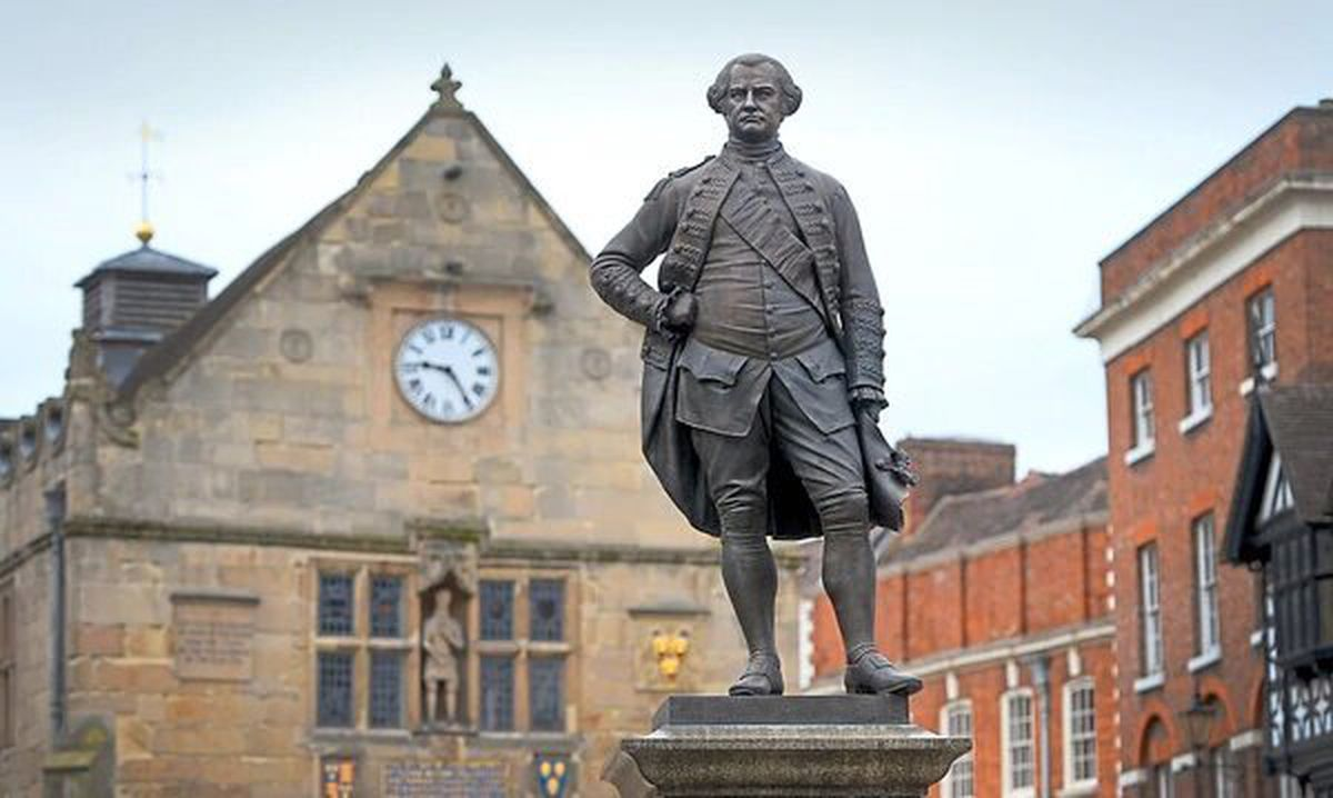The Robert Clive statue in the Square, Shrewsbury