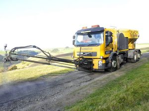 The Roadmaster in action near the village of Mardu, South Shropshire