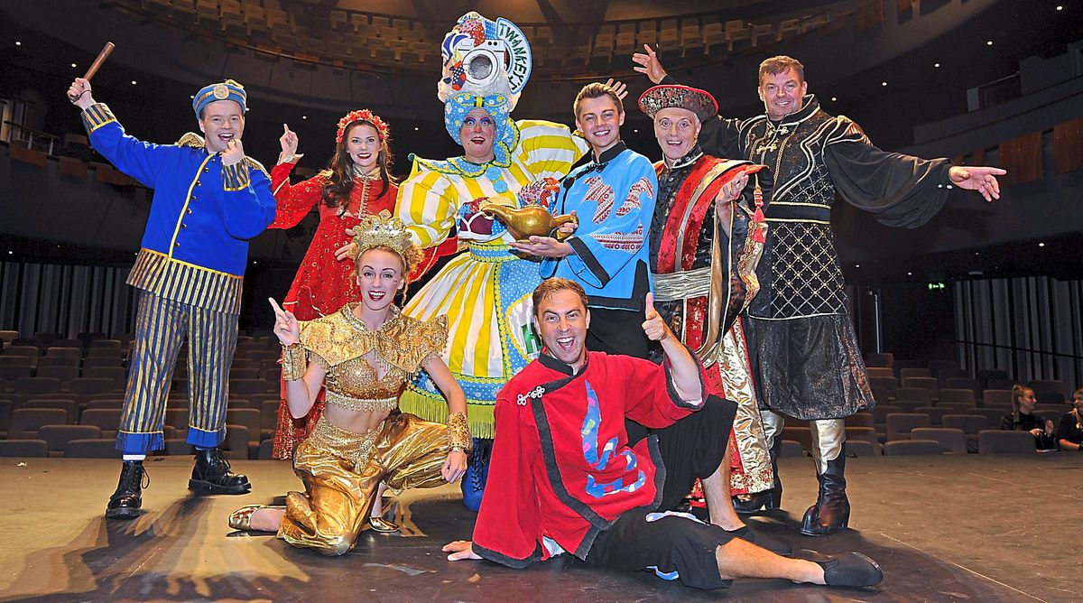 The cast for Aladdin at Theatre Severn