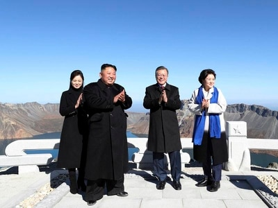 Kim and Moon head to sacred North Korean volcano on final day of summit