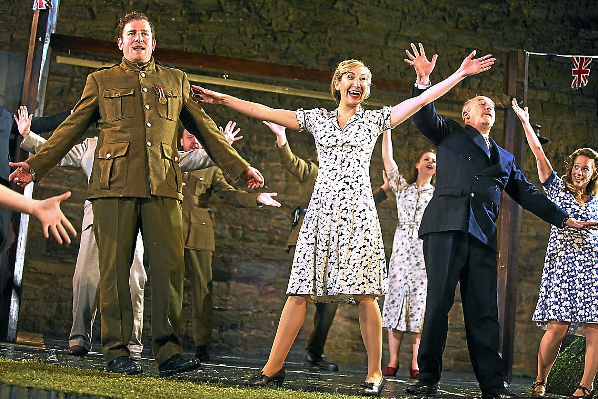 The cast of Much Ado About Nothing at Ludlow Castle.