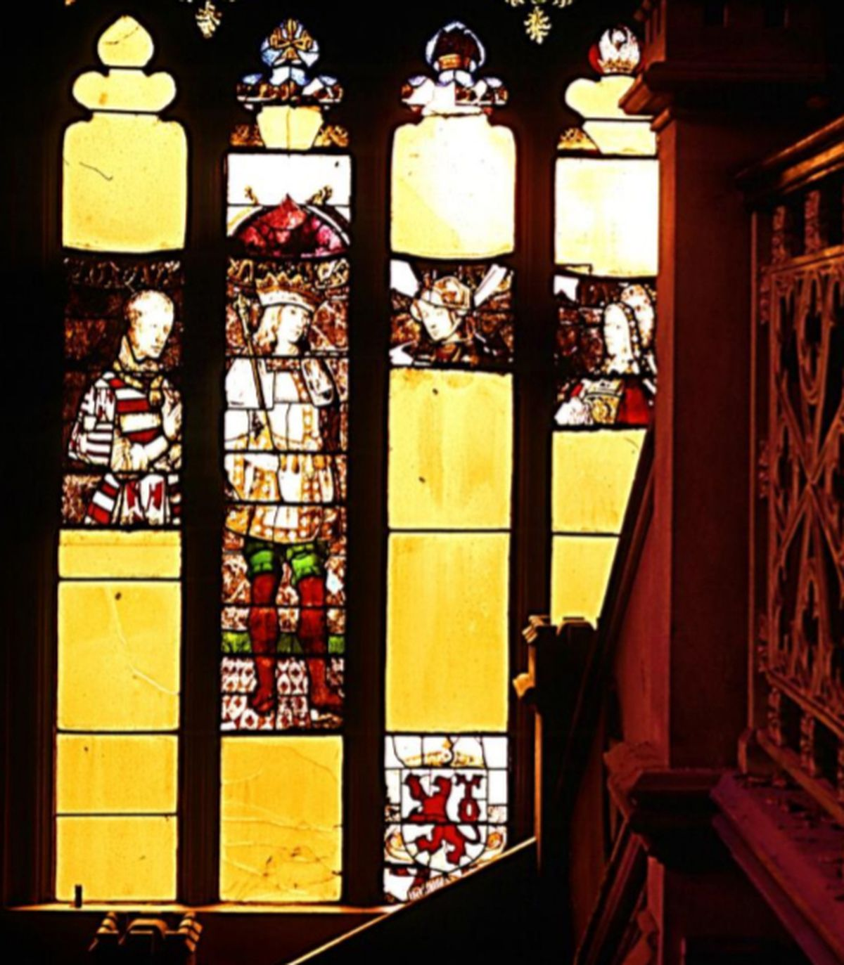 The magnificent four-light panel – missing pieces through bomb damage – pictured shortly before the mansion was demolished.