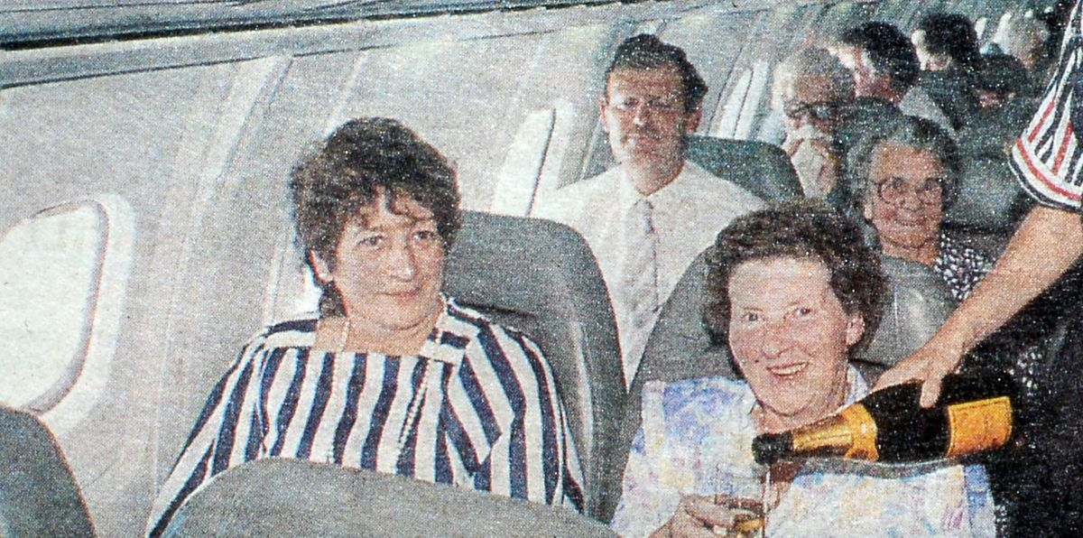 Passengers enjoying an on-board glass of champagne on their way to the Shrewsbury Flower Show
