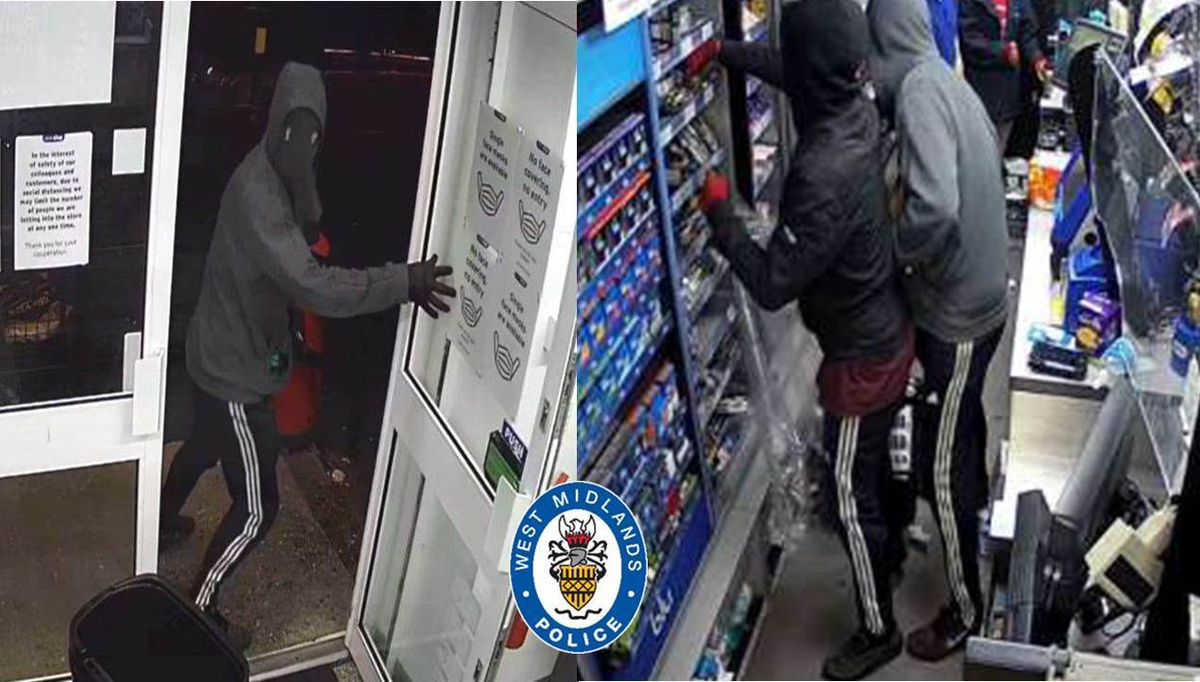 Both men wore balaclavas during the robbery at One Stop
