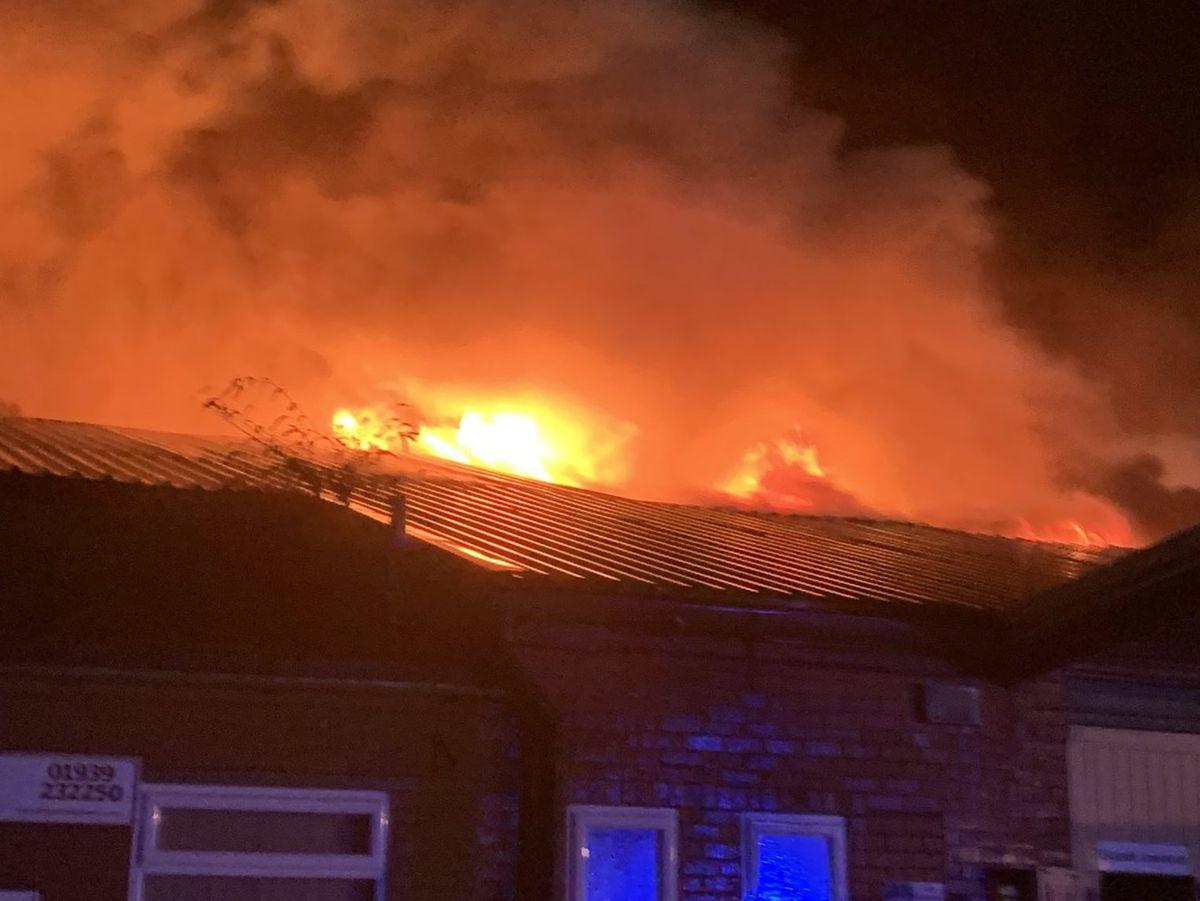 The blaze at the unit photo: Wem Fire Service